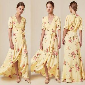 Reformation Addilyn Wrap long Dress Yellow Floral